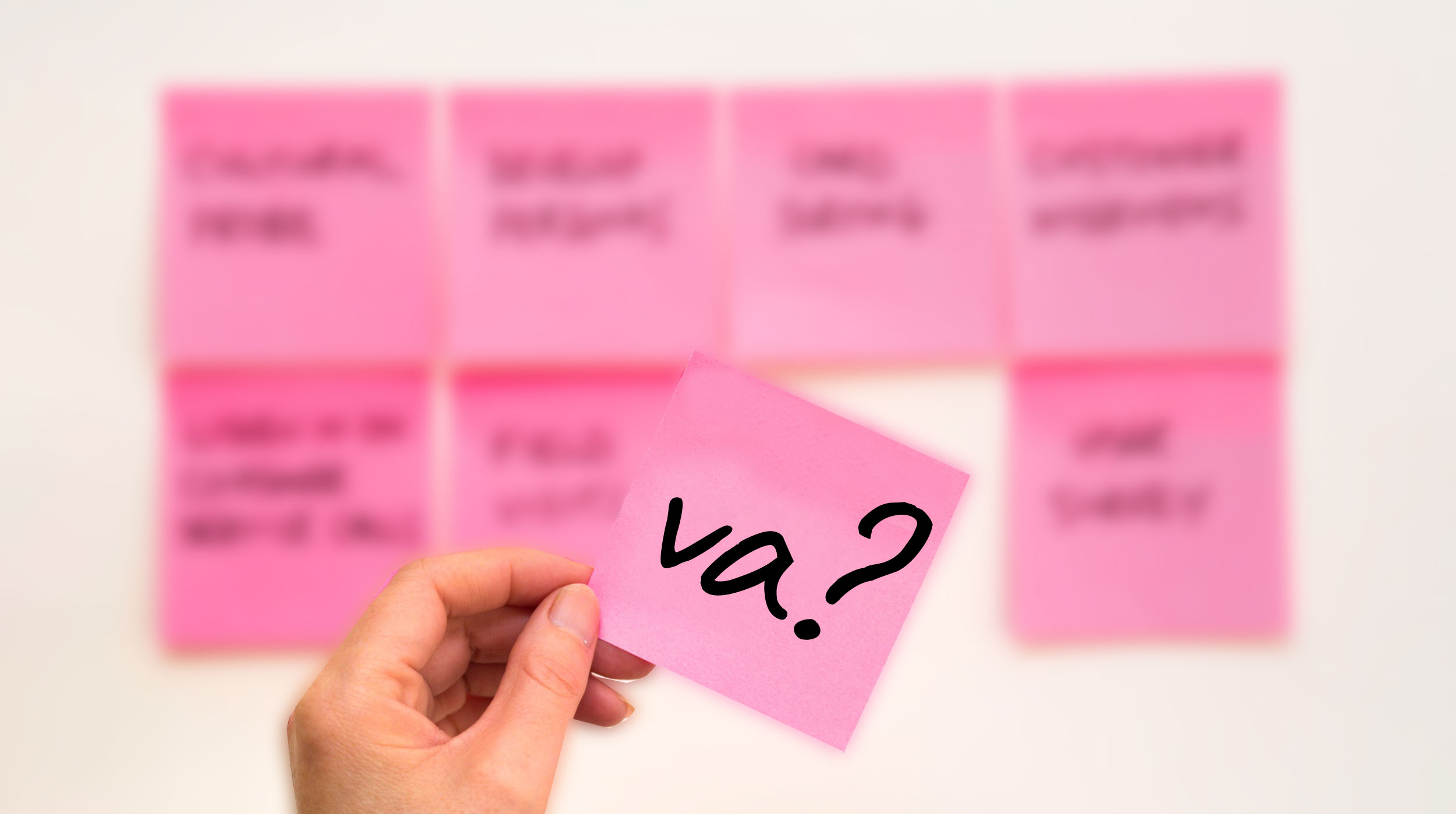 Virtuelle Assistenz auf Post-it